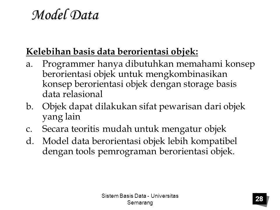 Sistem Basis Data - Universitas Semarang 28 Model Data Kelebihan basis data berorientasi objek: a.Programmer hanya dibutuhkan memahami konsep berorien