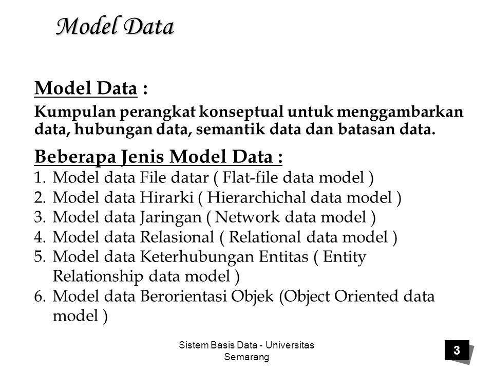 Sistem Basis Data - Universitas Semarang 3 Model Data Model Data : Kumpulan perangkat konseptual untuk menggambarkan data, hubungan data, semantik dat