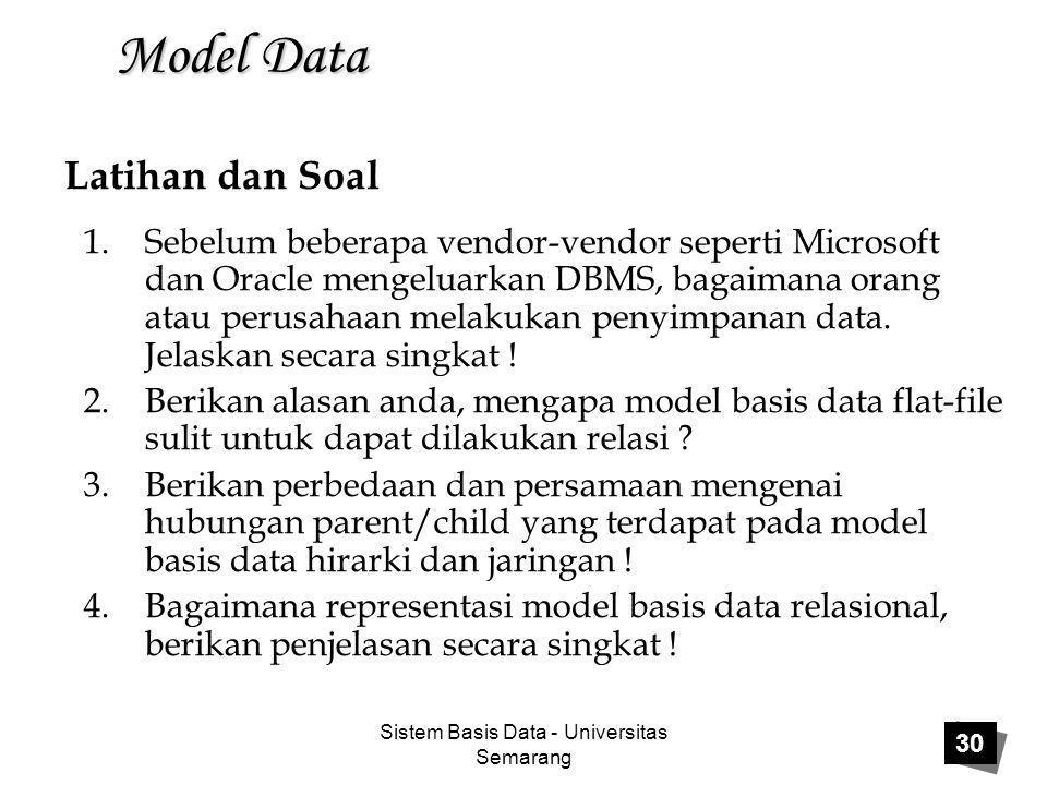 Sistem Basis Data - Universitas Semarang 30 Model Data 1.Sebelum beberapa vendor-vendor seperti Microsoft dan Oracle mengeluarkan DBMS, bagaimana oran