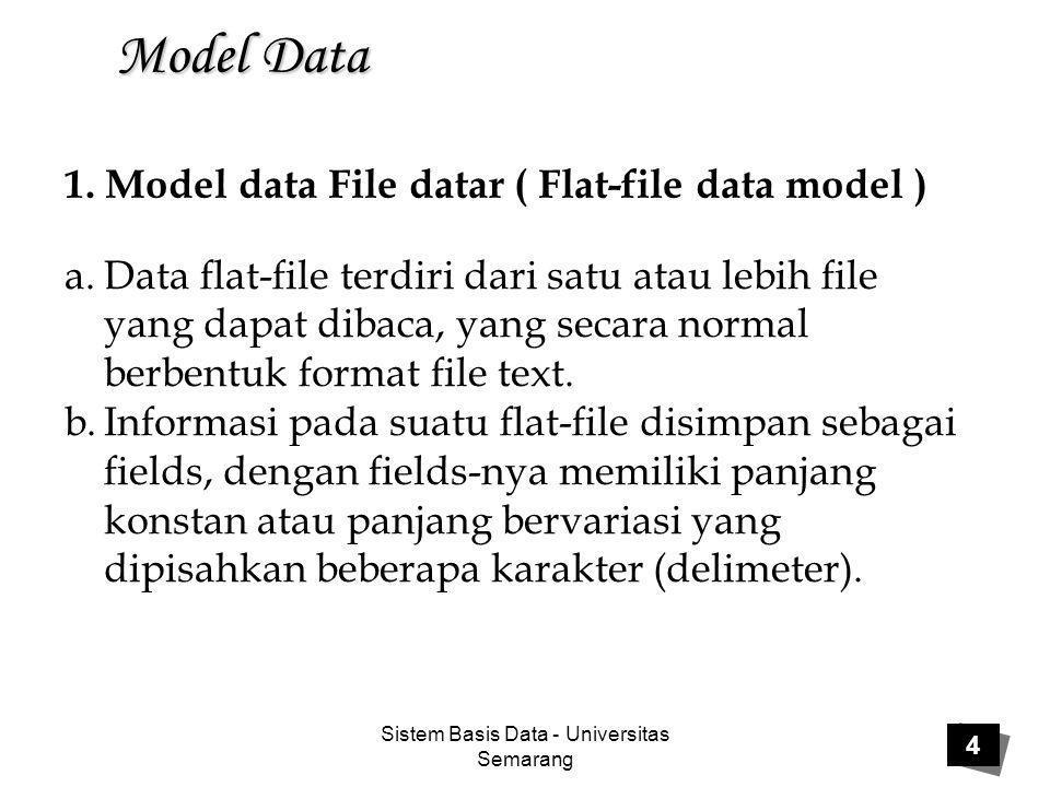 Sistem Basis Data - Universitas Semarang 25 Model Data  Model basis data berorientasi objek adalah suatu model basis data, dimana data didefinisikan, disimpan, dan diakses menggunakan pemrograman berorientasi objek.
