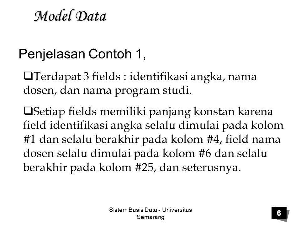 Sistem Basis Data - Universitas Semarang 17 Model Data Kelemahan basis data jaringan:  Struktur basis datanya tidak mudah untuk dilakukan modifikasi  Perubahan struktur basis data yang telah didefinisikan akan mempengaruhi program aplikasi yang mengakses basis data  User harus memahami struktur basis data.