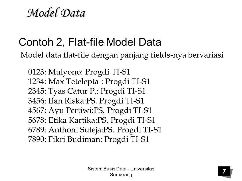 Sistem Basis Data - Universitas Semarang 8 Model Data Penjelasan Contoh 2,  Model data flat-file dengan panjang fields bervariasi yang dipisahkan dengan delimeter.