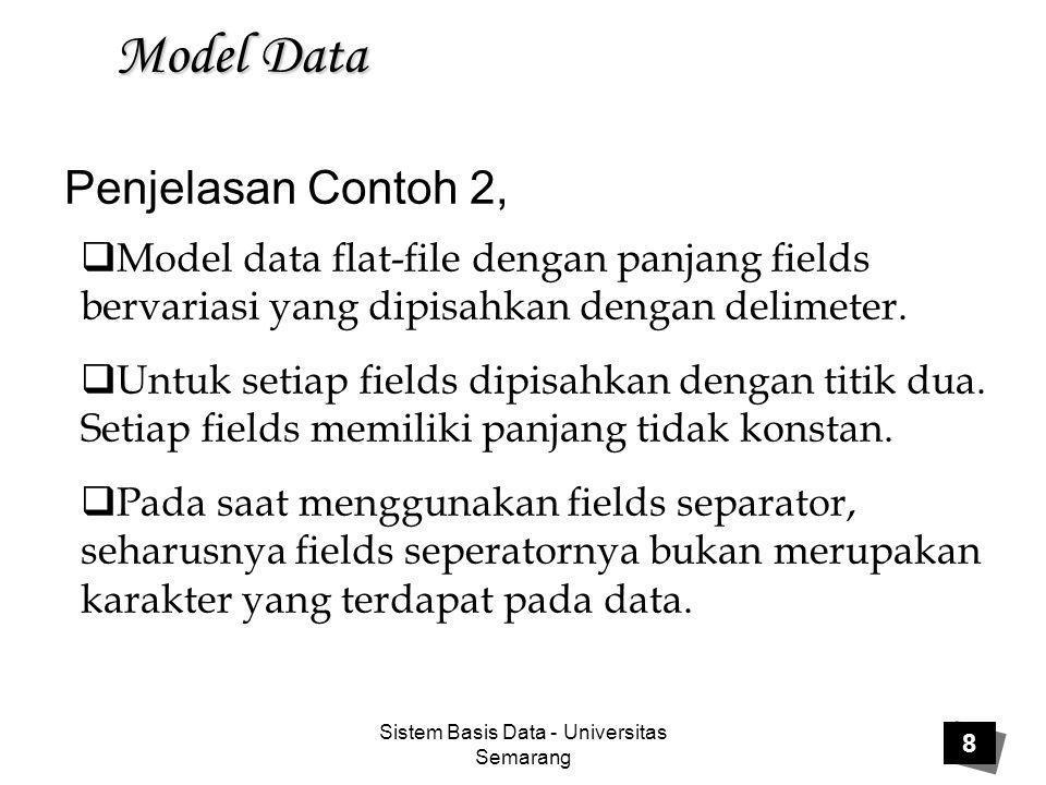 Sistem Basis Data - Universitas Semarang 9 Model Data Kelemahan model data flat-file:  Flat-file tidak menggunakan struktur data yang dengan mudah dapat direlasikan  Sulit untuk mengatur data secara efisien dan menjamin akurasi  Lokasi fisik fields data dengan file harus diketahui  Program harus dikembangkan untuk mengatur data