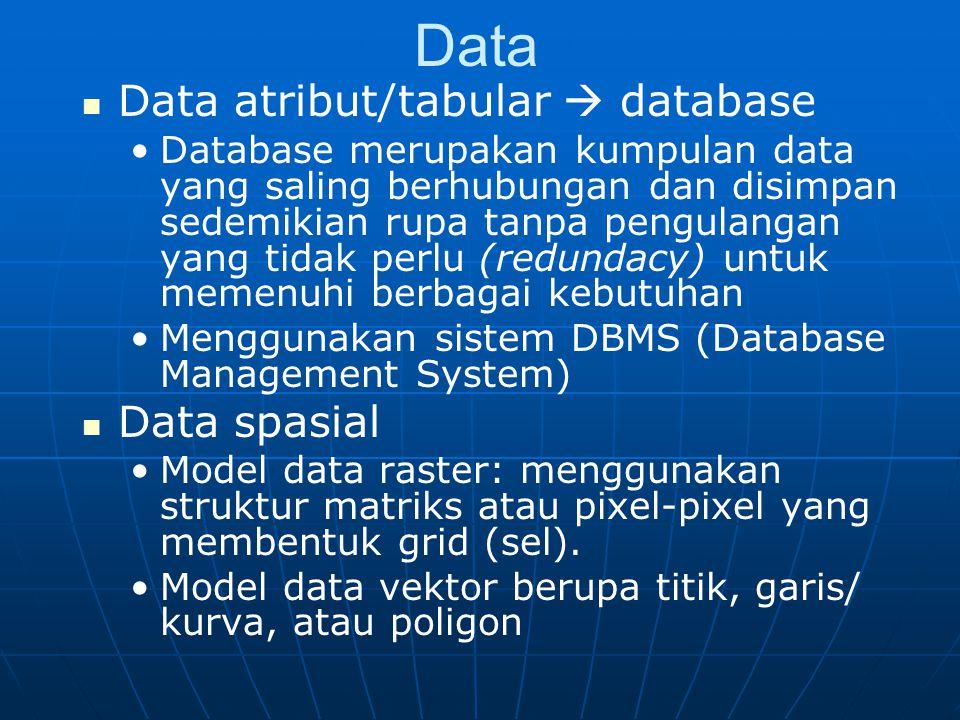 Data Data atribut/tabular  database Database merupakan kumpulan data yang saling berhubungan dan disimpan sedemikian rupa tanpa pengulangan yang tidak perlu (redundacy) untuk memenuhi berbagai kebutuhan Menggunakan sistem DBMS (Database Management System) Data spasial Model data raster: menggunakan struktur matriks atau pixel-pixel yang membentuk grid (sel).
