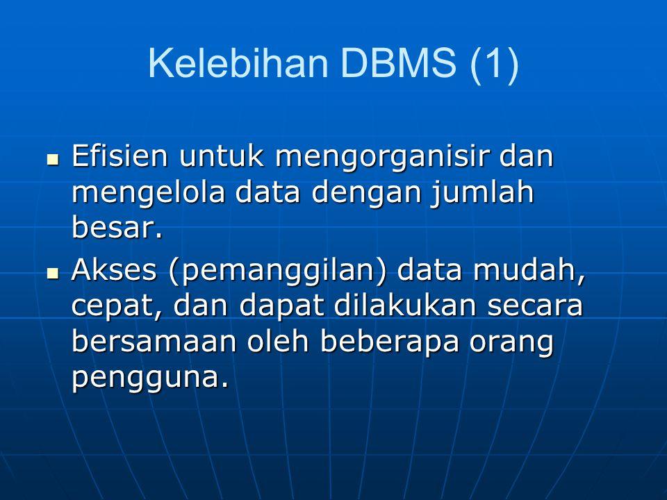 Kelebihan DBMS (1) Efisien untuk mengorganisir dan mengelola data dengan jumlah besar.