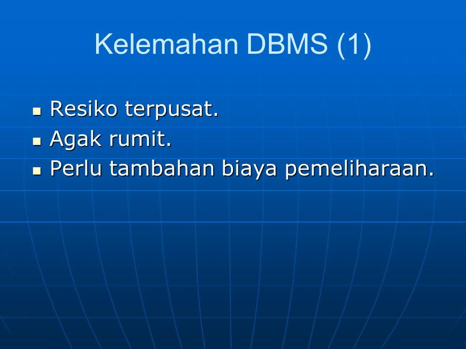 Kelemahan DBMS (1) Resiko terpusat.Resiko terpusat.