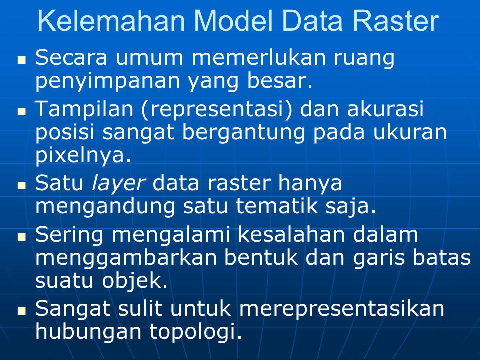 Kelemahan Model Data Raster Secara umum memerlukan ruang penyimpanan yang besar.