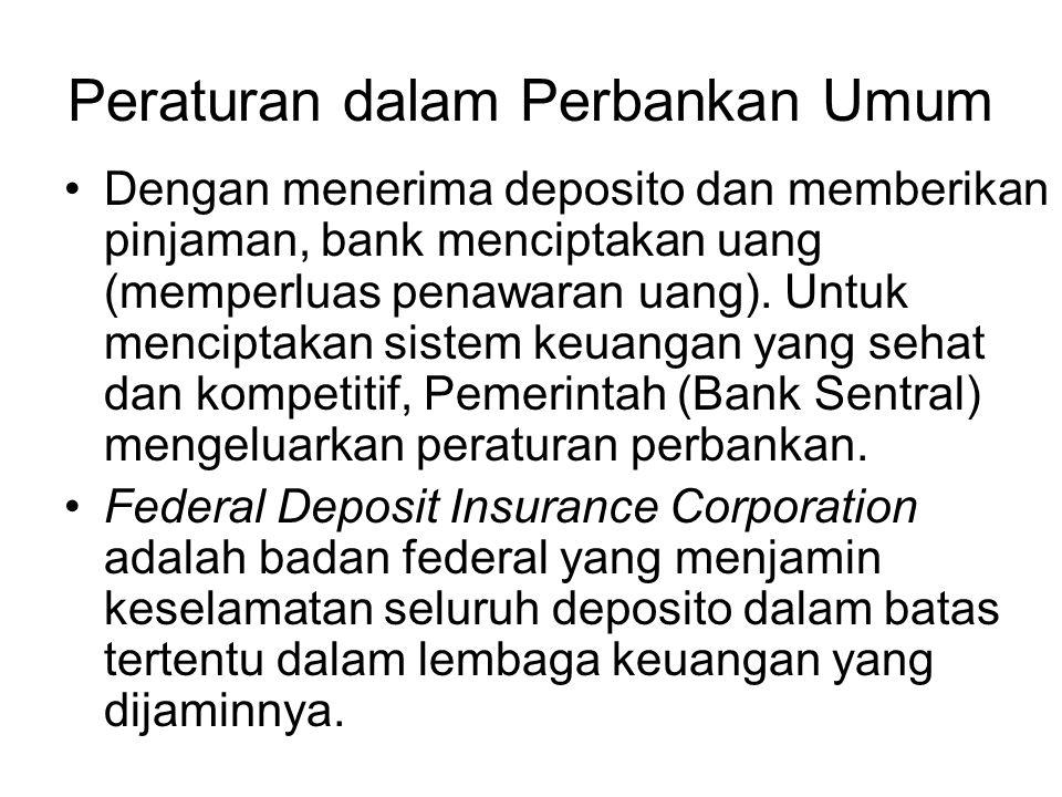 Peraturan dalam Perbankan Umum Dengan menerima deposito dan memberikan pinjaman, bank menciptakan uang (memperluas penawaran uang). Untuk menciptakan