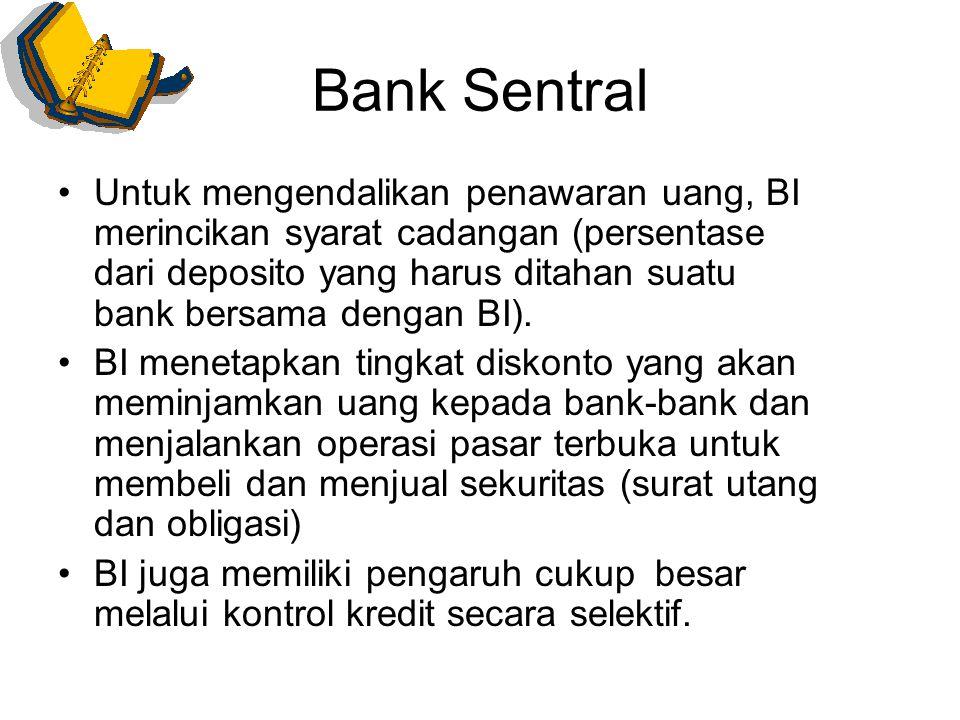 Bank Sentral Untuk mengendalikan penawaran uang, BI merincikan syarat cadangan (persentase dari deposito yang harus ditahan suatu bank bersama dengan