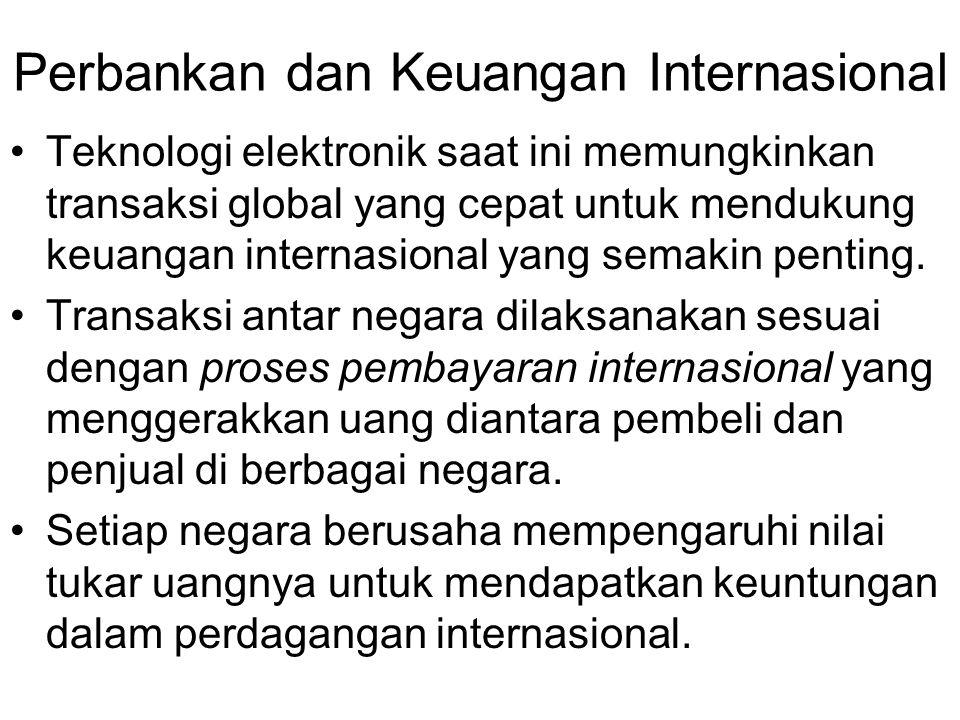 Perbankan dan Keuangan Internasional Teknologi elektronik saat ini memungkinkan transaksi global yang cepat untuk mendukung keuangan internasional yang semakin penting.
