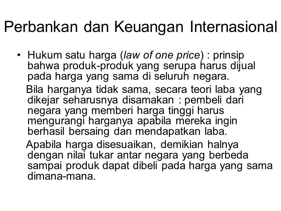 Perbankan dan Keuangan Internasional Hukum satu harga (law of one price) : prinsip bahwa produk-produk yang serupa harus dijual pada harga yang sama d