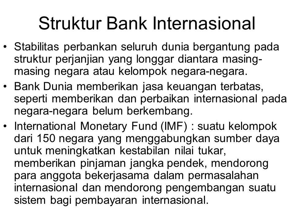 Struktur Bank Internasional Stabilitas perbankan seluruh dunia bergantung pada struktur perjanjian yang longgar diantara masing- masing negara atau kelompok negara-negara.