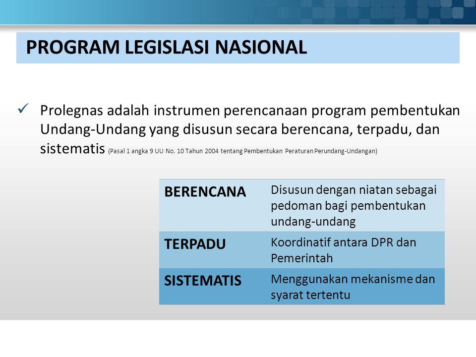 PROGRAM LEGISLASI NASIONAL Prolegnas adalah instrumen perencanaan program pembentukan Undang-Undang yang disusun secara berencana, terpadu, dan sistematis (Pasal 1 angka 9 UU No.
