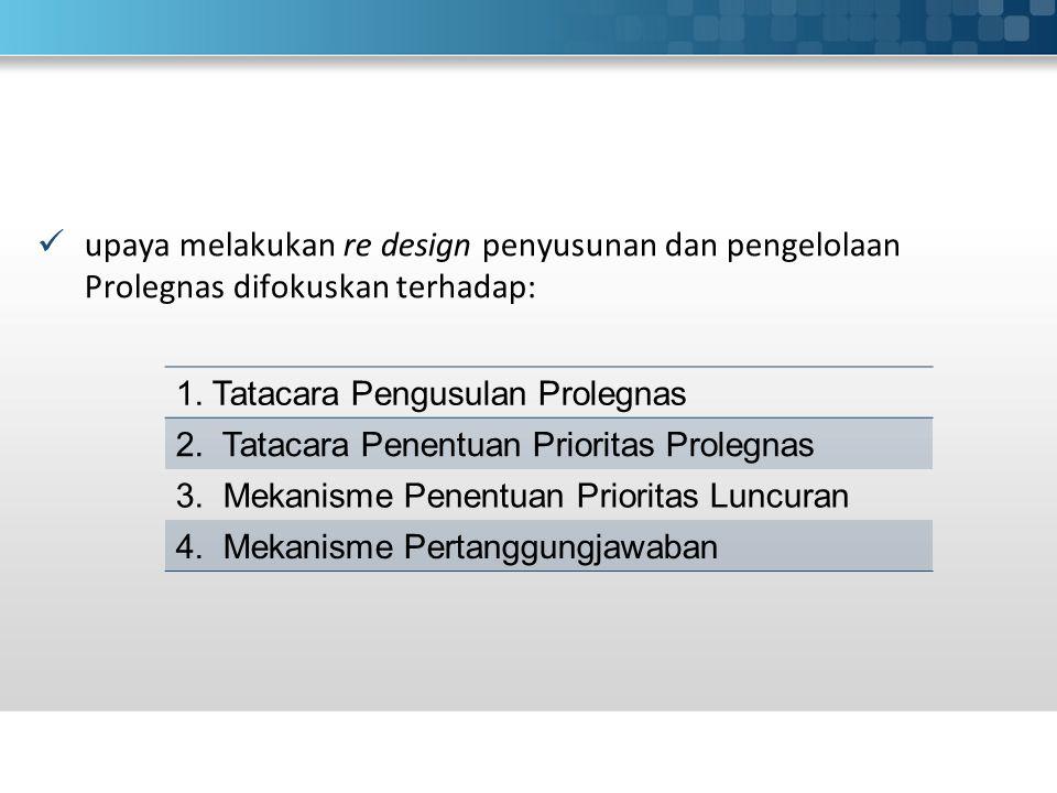 upaya melakukan re design penyusunan dan pengelolaan Prolegnas difokuskan terhadap: 1.