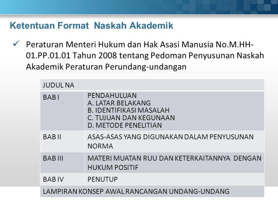 Ketentuan Format Naskah Akademik Peraturan Menteri Hukum dan Hak Asasi Manusia No.M.HH- 01.PP.01.01 Tahun 2008 tentang Pedoman Penyusunan Naskah Akademik Peraturan Perundang-undangan JUDUL NA BAB I PENDAHULUAN A.