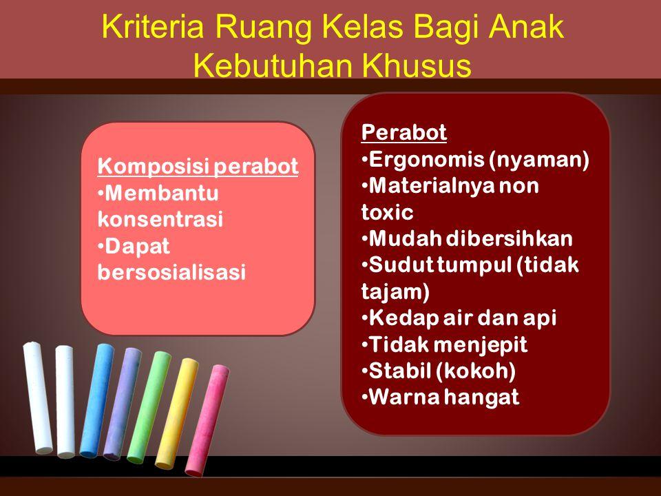 Kriteria Ruang Kelas Bagi Anak Kebutuhan Khusus Komposisi perabot Membantu konsentrasi Dapat bersosialisasi Perabot Ergonomis (nyaman) Materialnya non