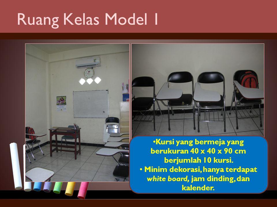 Ruang Kelas Model 1 Kursi yang bermeja yang berukuran 40 x 40 x 90 cm berjumlah 10 kursi. Minim dekorasi, hanya terdapat white board, jam dinding, dan