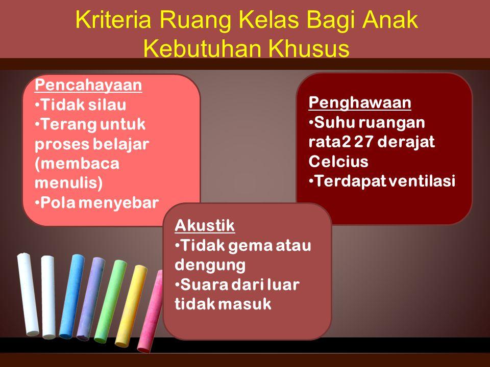 Kriteria Ruang Kelas Bagi Anak Kebutuhan Khusus Pencahayaan Tidak silau Terang untuk proses belajar (membaca menulis) Pola menyebar Penghawaan Suhu ru