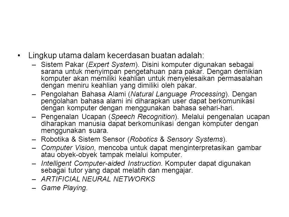 Lingkup utama dalam kecerdasan buatan adalah: –Sistem Pakar (Expert System). Disini komputer digunakan sebagai sarana untuk menyimpan pengetahuan para