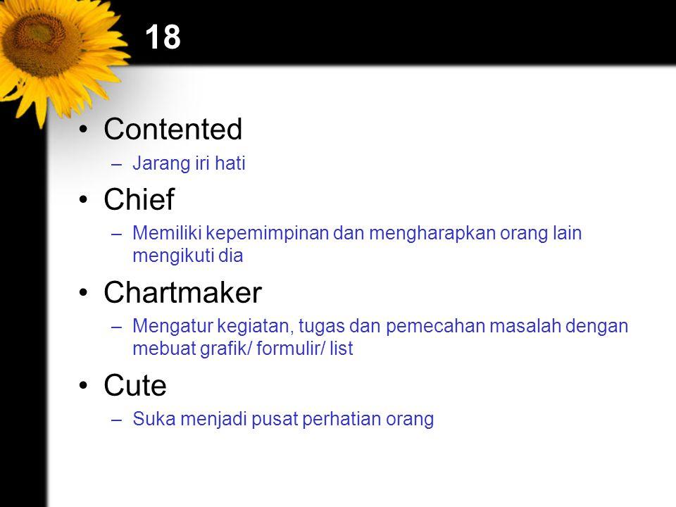 18 Contented –Jarang iri hati Chief –Memiliki kepemimpinan dan mengharapkan orang lain mengikuti dia Chartmaker –Mengatur kegiatan, tugas dan pemecaha