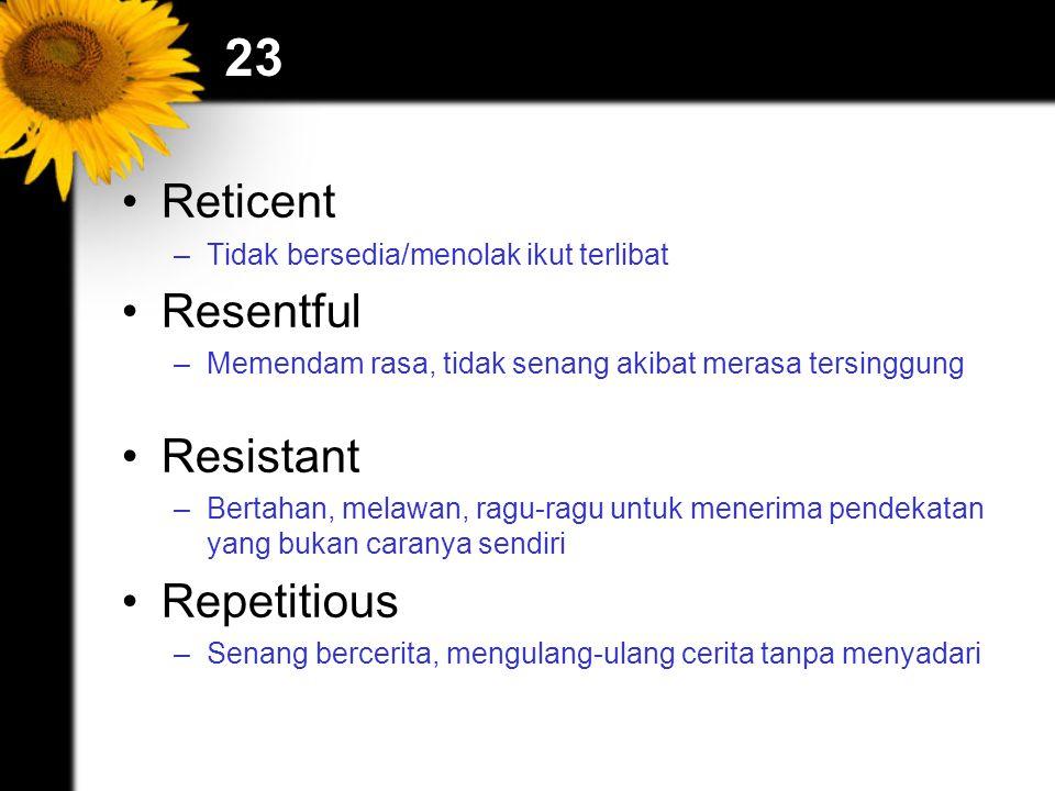 23 Reticent –Tidak bersedia/menolak ikut terlibat Resentful –Memendam rasa, tidak senang akibat merasa tersinggung Resistant –Bertahan, melawan, ragu-