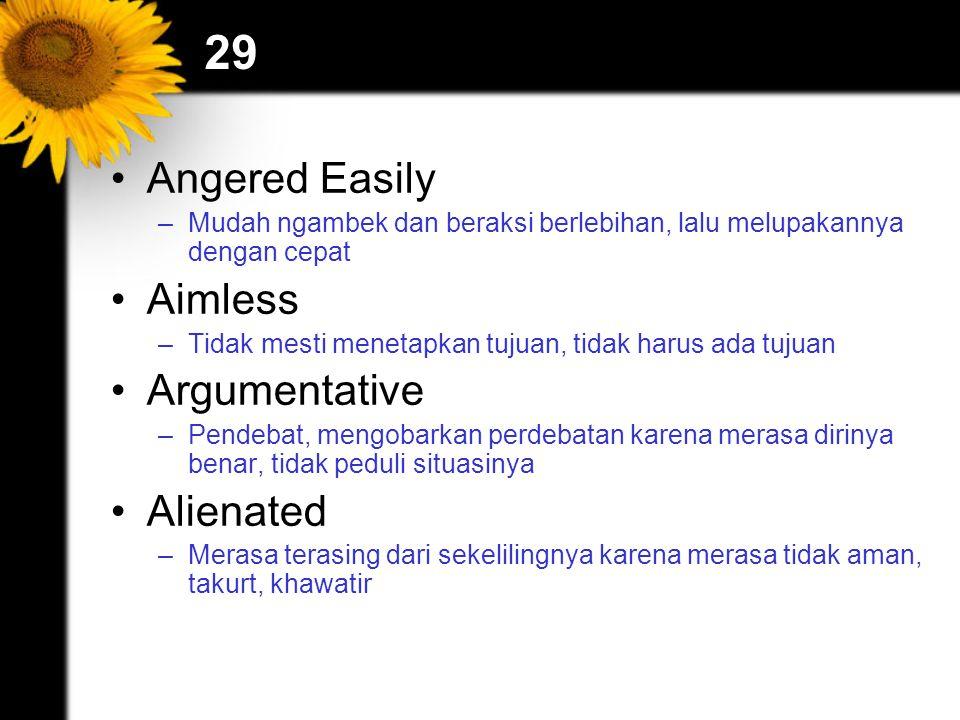 29 Angered Easily –Mudah ngambek dan beraksi berlebihan, lalu melupakannya dengan cepat Aimless –Tidak mesti menetapkan tujuan, tidak harus ada tujuan