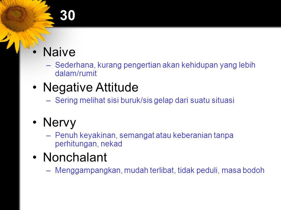30 Naive –Sederhana, kurang pengertian akan kehidupan yang lebih dalam/rumit Negative Attitude –Sering melihat sisi buruk/sis gelap dari suatu situasi