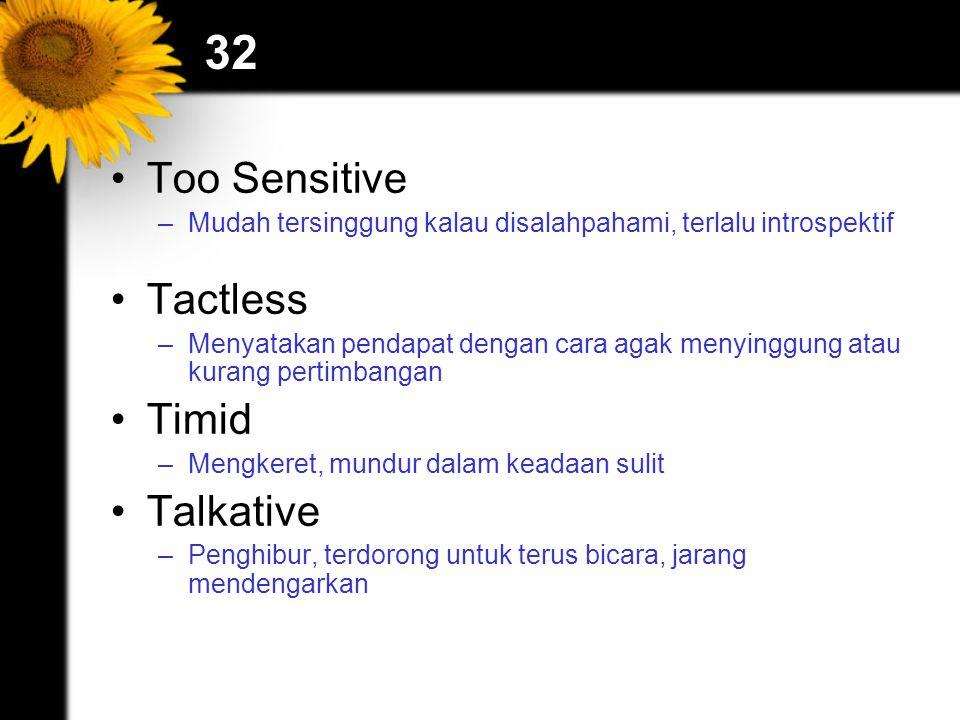 32 Too Sensitive –Mudah tersinggung kalau disalahpahami, terlalu introspektif Tactless –Menyatakan pendapat dengan cara agak menyinggung atau kurang pertimbangan Timid –Mengkeret, mundur dalam keadaan sulit Talkative –Penghibur, terdorong untuk terus bicara, jarang mendengarkan