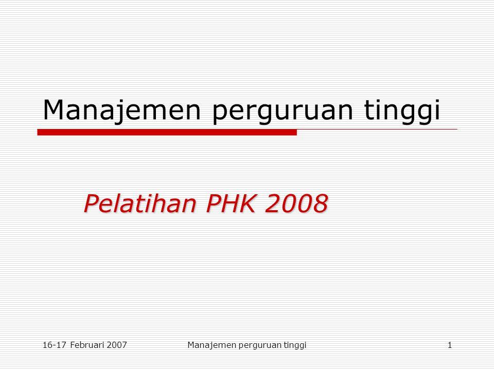16-17 Februari 2007Manajemen perguruan tinggi1 Pelatihan PHK 2008