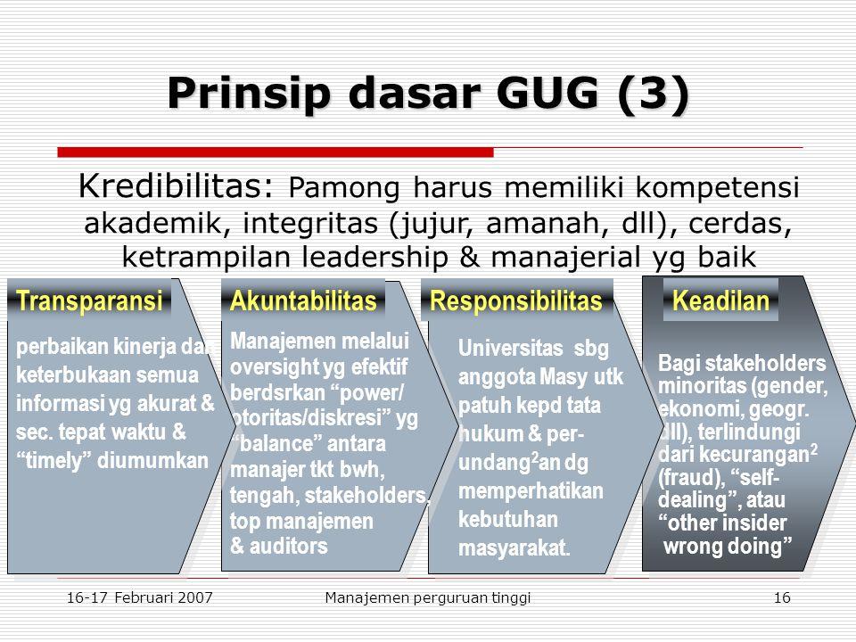 16-17 Februari 2007Manajemen perguruan tinggi16 Keadilan Bagi stakeholders minoritas (gender, ekonomi, geogr.