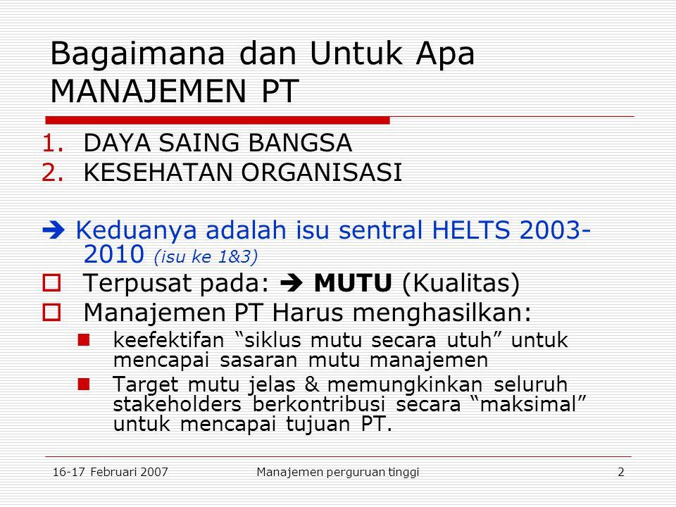 16-17 Februari 2007Manajemen perguruan tinggi2 Bagaimana dan Untuk Apa MANAJEMEN PT 1.DAYA SAING BANGSA 2.KESEHATAN ORGANISASI  Keduanya adalah isu sentral HELTS 2003- 2010 (isu ke 1&3)  Terpusat pada:  MUTU (Kualitas)  Manajemen PT Harus menghasilkan: keefektifan siklus mutu secara utuh untuk mencapai sasaran mutu manajemen Target mutu jelas & memungkinkan seluruh stakeholders berkontribusi secara maksimal untuk mencapai tujuan PT.