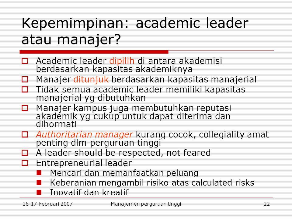 16-17 Februari 2007Manajemen perguruan tinggi22 Kepemimpinan: academic leader atau manajer.