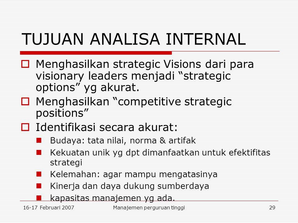 16-17 Februari 2007Manajemen perguruan tinggi29 TUJUAN ANALISA INTERNAL  Menghasilkan strategic Visions dari para visionary leaders menjadi strategic options yg akurat.