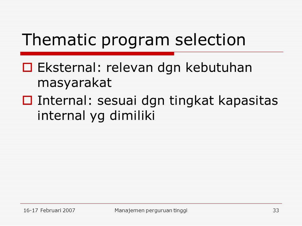 16-17 Februari 2007Manajemen perguruan tinggi33 Thematic program selection  Eksternal: relevan dgn kebutuhan masyarakat  Internal: sesuai dgn tingkat kapasitas internal yg dimiliki