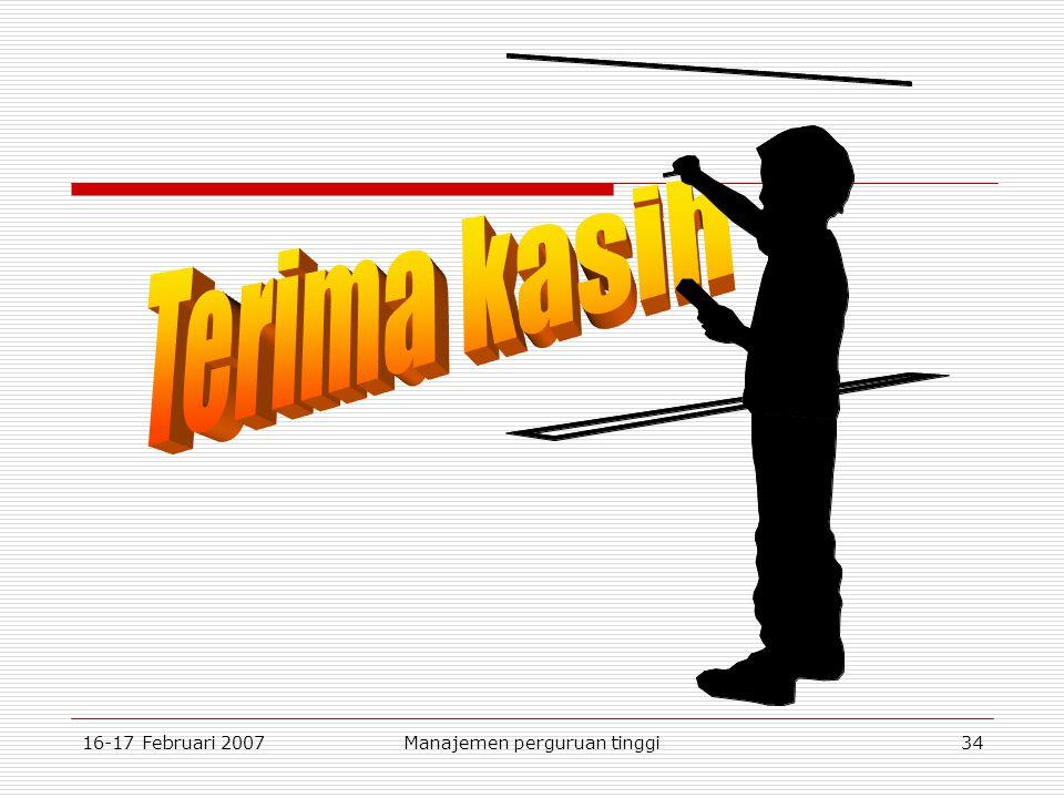 16-17 Februari 2007Manajemen perguruan tinggi34