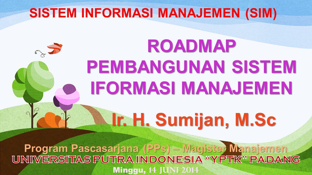 SISTEM INFORMASI MANAJEMEN (SIM) Program Pascasarjana (PPs) – Magister Manajemen ROADMAP PEMBANGUNAN SISTEM IFORMASI MANAJEMEN Ir. H. Sumijan, M.Sc