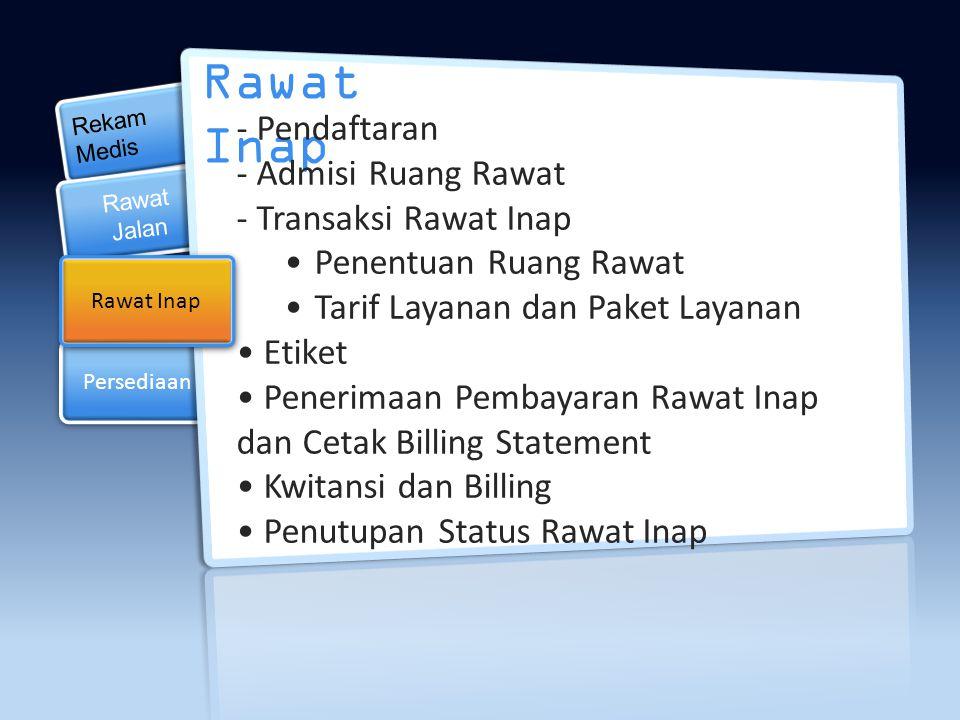 Posting Penjualan Posting Penjualan Persediaan Rekam Medis Persediaan Rawat Inap Rawat Jalan - Pendaftaran - Transaksi Rawat Jalan per Poli - Etiket -