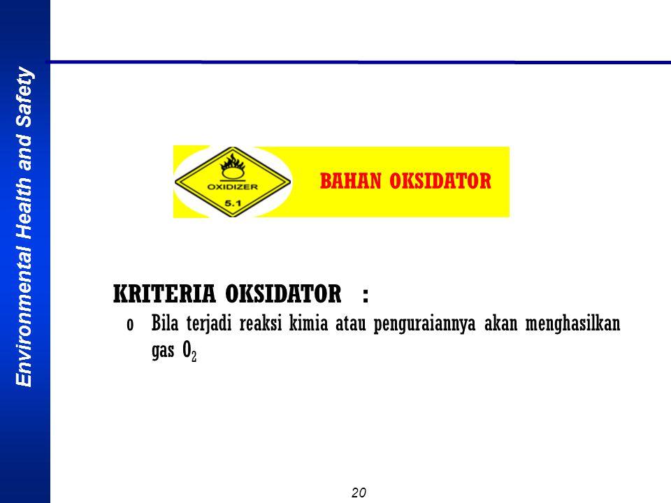 Environmental Health and Safety 19 GASPenggunaanBahaya AsetilenGas bakarMudah terbakar, aspiksian AmmoniaBahan baku pupukBeracun Etilen OksidaSterilis