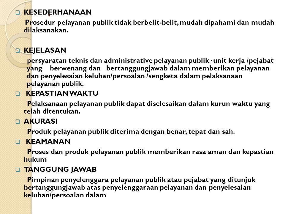 10 1. KESEDERHANAAN 2. KEJELASAN 3. KEPASTIAN WAKTU 4. AKURASI 5. KEAMANAN 6. TANGGUNGJAWAB 7. KELENGKAPAN SARANA PRASARANA 8. KEMUDAHAN AKSES 9. KEDI