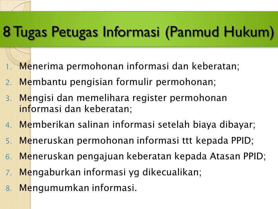 Tugas Panitera/Sekretaris 6. Membantu Ketua Pengadilan memutakhirkan Daftar Informasi (1 bulan 1 x); 7. Memastikan pemutakhiran informasi yg wajib diu
