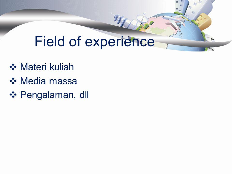 Field of experience  Materi kuliah  Media massa  Pengalaman, dll