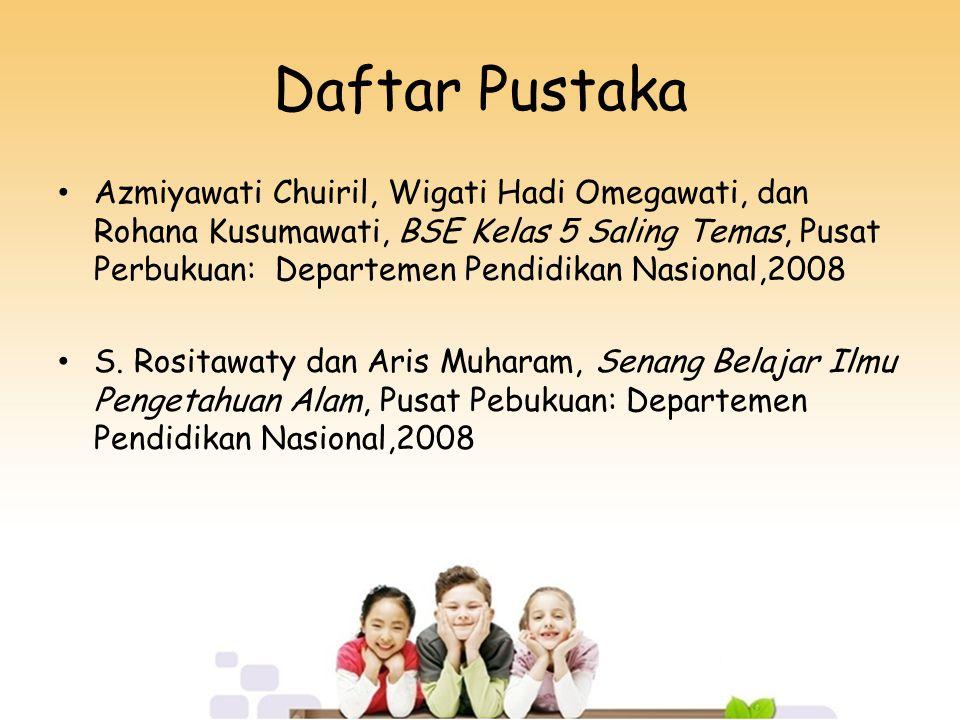 Daftar Pustaka Azmiyawati Chuiril, Wigati Hadi Omegawati, dan Rohana Kusumawati, BSE Kelas 5 Saling Temas, Pusat Perbukuan: Departemen Pendidikan Nasi