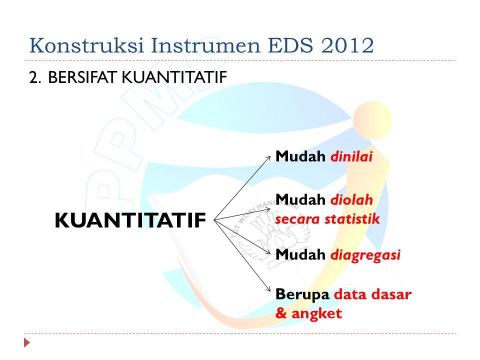 Konstruksi Instrumen EDS 2012 2.BERSIFAT KUANTITATIF KUANTITATIF Mudah dinilai Mudah diolah secara statistik Berupa data dasar & angket Mudah diagregasi