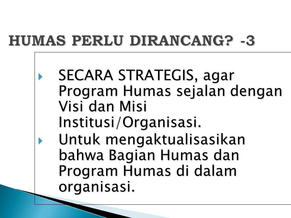 HUMAS PERLU DIRANCANG? -3  SECARA STRATEGIS, agar Program Humas sejalan dengan Visi dan Misi Institusi/Organisasi.  Untuk mengaktualisasikan bahwa B