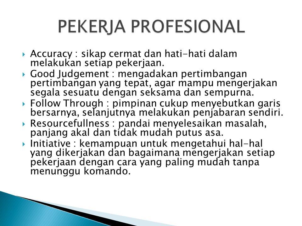  Accuracy : sikap cermat dan hati-hati dalam melakukan setiap pekerjaan.  Good Judgement : mengadakan pertimbangan pertimbangan yang tepat, agar mam