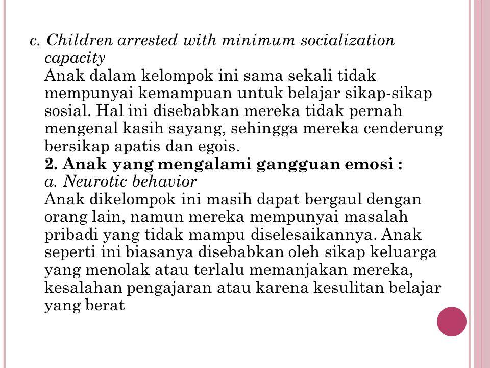 c. Children arrested with minimum socialization capacity Anak dalam kelompok ini sama sekali tidak mempunyai kemampuan untuk belajar sikap-sikap sosia