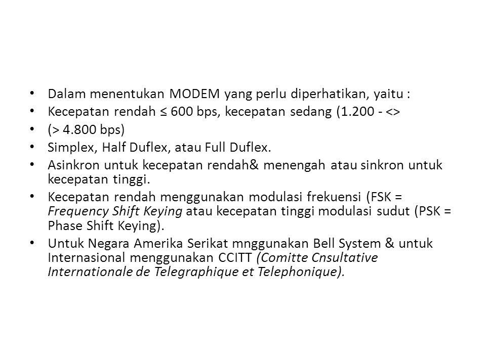 Dalam menentukan MODEM yang perlu diperhatikan, yaitu : Kecepatan rendah ≤ 600 bps, kecepatan sedang (1.200 - <> (> 4.800 bps) Simplex, Half Duflex, atau Full Duflex.