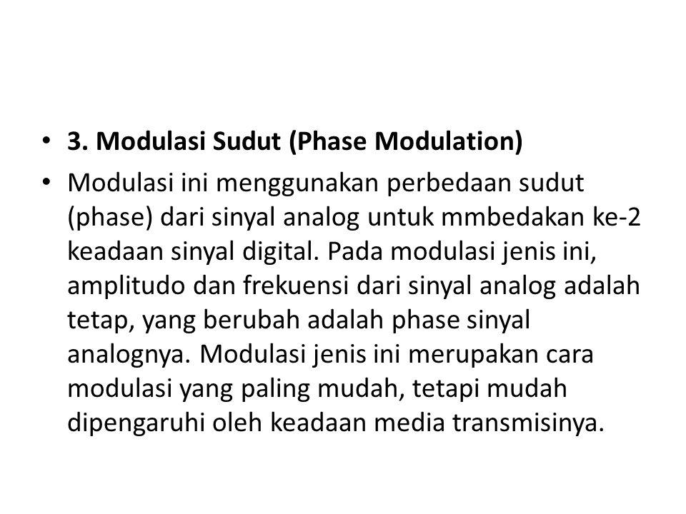 3. Modulasi Sudut (Phase Modulation) Modulasi ini menggunakan perbedaan sudut (phase) dari sinyal analog untuk mmbedakan ke-2 keadaan sinyal digital.