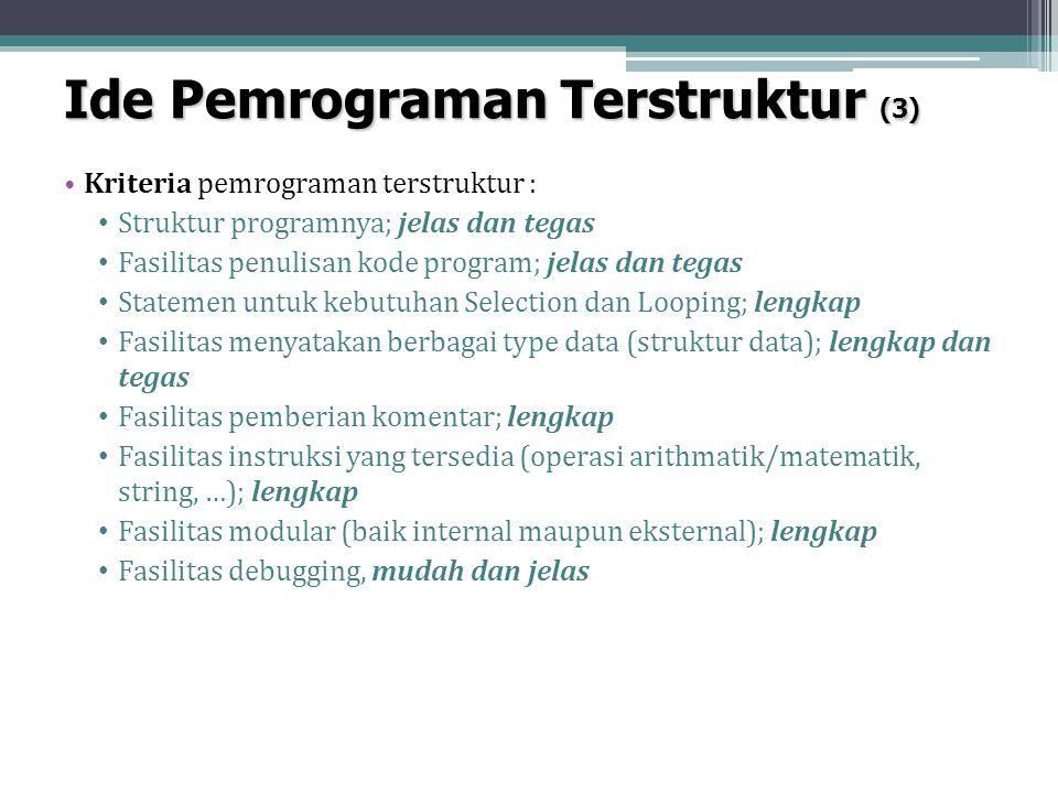 Ide Pemrograman Terstruktur (3) Kriteria pemrograman terstruktur : Struktur programnya; jelas dan tegas Fasilitas penulisan kode program; jelas dan te