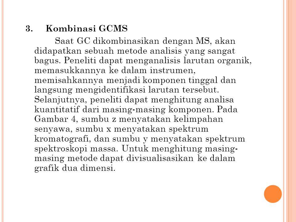3. Kombinasi GCMS Saat GC dikombinasikan dengan MS, akan didapatkan sebuah metode analisis yang sangat bagus. Peneliti dapat menganalisis larutan orga